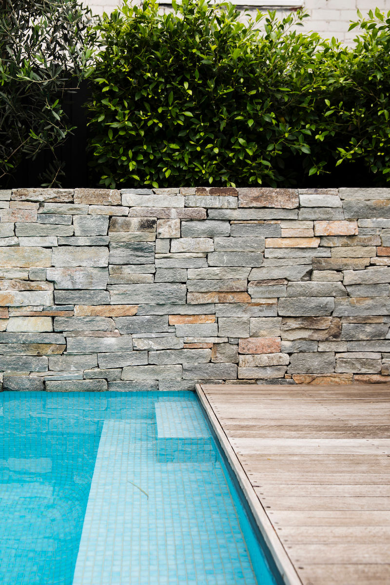 BackGardenDesign-Pool-FeatureStoneWall-Deck-Plants