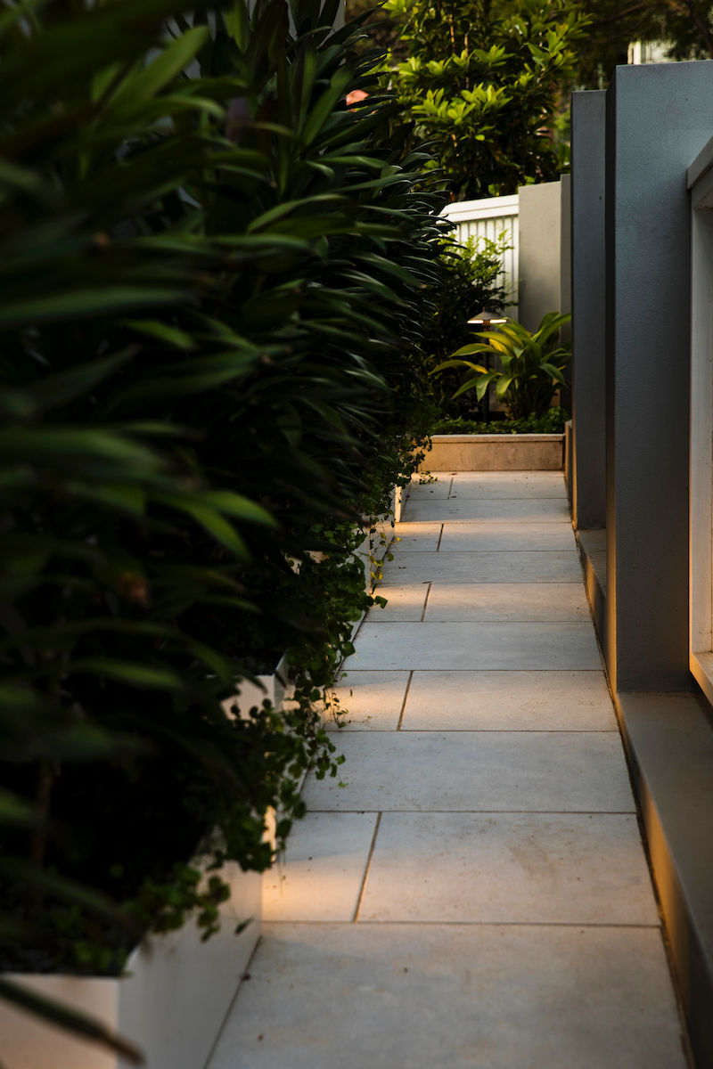 GardenDesign-SidePath-Night-Lights-Plants-Fence